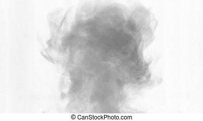 A stream of smoke falling down. Black smoke on a white...
