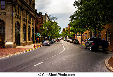 A street in Lancaster, Pennsylvania.