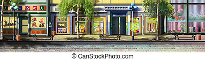 A street in small town - Digital painting of the small town ...
