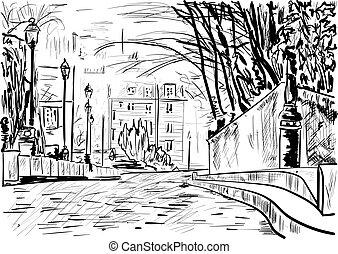 a street in the city, Paris