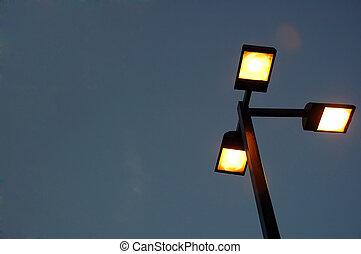 a street lamp at night