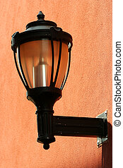 Street light on the side of a building