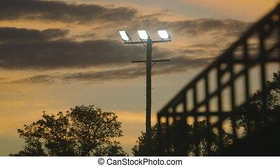 A street light shining at dusk - A still low angle shot of a...