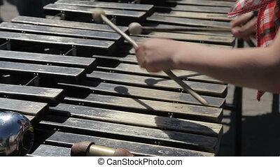 A street musician plays on a metallophone - A street...