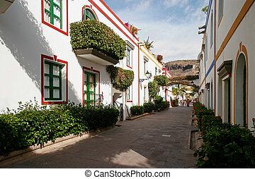 A street scene in Puerto de Mogan Gran Canaria