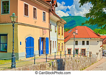 A street with old colorful houses in the small European historical town of Kamnik, Slovenia