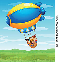 A stripe airship carrying a group of kids - Illustration of...