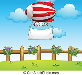 A stripe blimp carrying an empty banner - Illustration of a...