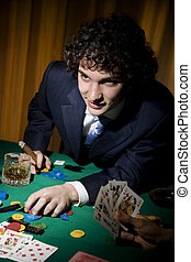 poker - A stroke of luck playing poker. The guy cleaned all...