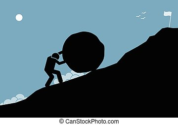A strong man pushing a big rock up the hill to reach the goal on top.