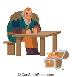A strong northerner warrior ponders over the treasure of kings of thrones. Isolated on white background. Vector flat illustration.