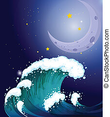A strong wave under the moon