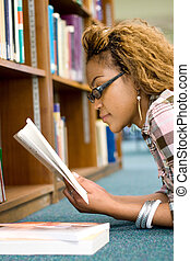 student research - a student researching information in...
