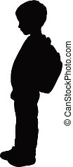 a student with bag, silhouette vector