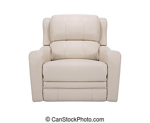 A studio shot of a leather white armchair isolated on white background