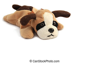 A stuffed dog with burn-out expression - copy space