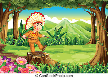 A stump at the jungle with an Indian