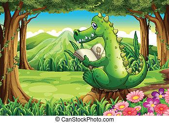 A stump with a crocodile