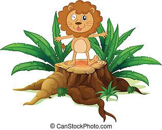 A stump with a little lion