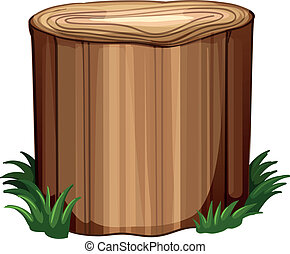 Illustration of a stump with weeds on a white background