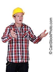 A stunned tradesman