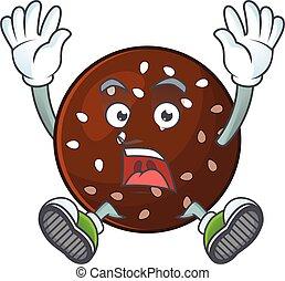 A stunning chokladboll cartoon character with happy face