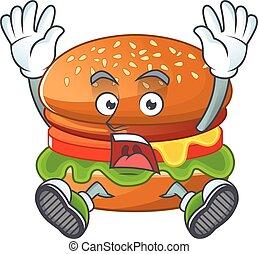 A stunning hamburger cartoon character with happy face