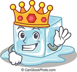 A stunning of ice cube stylized of King on cartoon mascot style