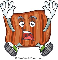 A stunning roasted beef cartoon character with happy face