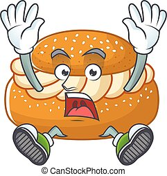 A stunning semla cartoon character with happy face