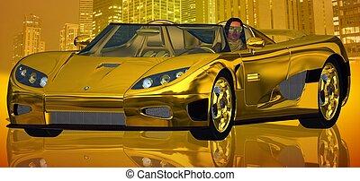 A Golden City Ride - A stunning woman is driving a million ...