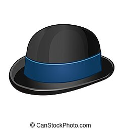 A stylish black bowler hat with blue ribbon isolated on a white background. Vector illustration.