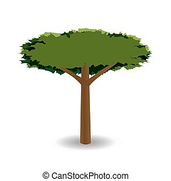 A stylized drawing of a green tree with a round crown of barbed. illustration