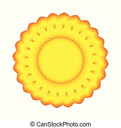 A stylized image of the sun