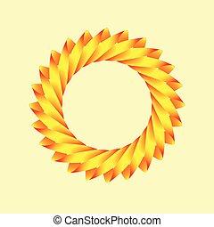 A stylized logo of the sun