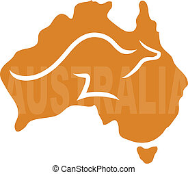 Australia - A stylized map of Australia with a kangaroo...