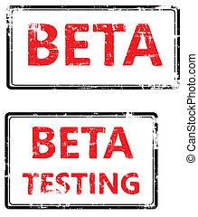 stamp that shows the term beta testing - A stylized red ...