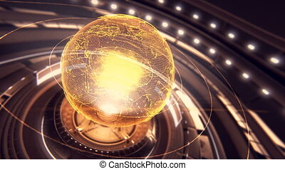 A stylized rendering of the earth conveying the modern digital age 4k motion graphics
