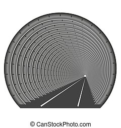 A subway tunnel or car underground. The construction of tubing. Light at the end of the tunnel. Exit or entry somewhere.