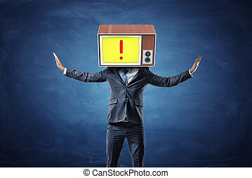 A successful businessman raises his hands to his head replaced with an old TV showing a red exclamation point.