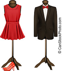 A suit and a formal dress on mannequins with red high heels....