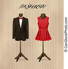 A suit and a retro formal dress on mannequins. Vector.