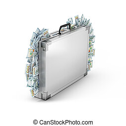 A suitcase from which stick out money.3d illustration