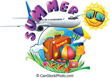 A summer artwork showing a vacation trip