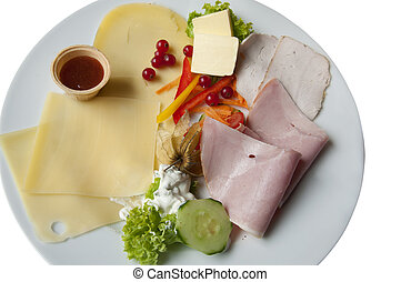 A Sumptuous German Breakfast - A Breakfast Platter with Ham,...