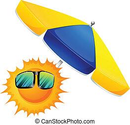 A sun with an umbrella