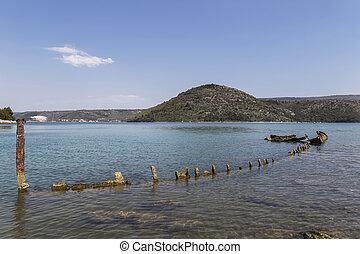 sinking German ship Fritz from World War II in the bay of Salamustica in the Rasa bay, Istria, Croatia