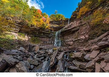 Falls Catskills Mountains of New York. - A sunny Autumn ...
