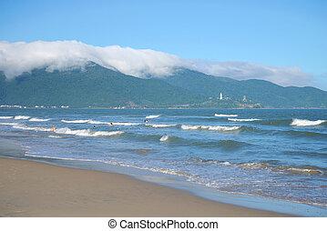 A sunny day on the My Khe beach. Da Nang, Vietnam