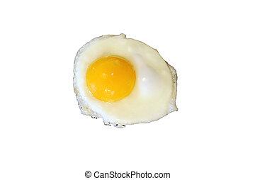 Sunnyside up egg frying isolated on white - A Sunnyside up ...